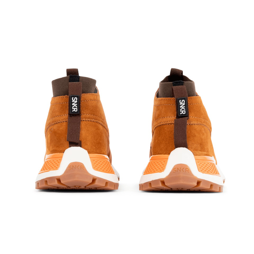 The Suffolk men's luxury sneaker boot with tan suede, white and gum sole and a brown sock-fit construction. back of shoes