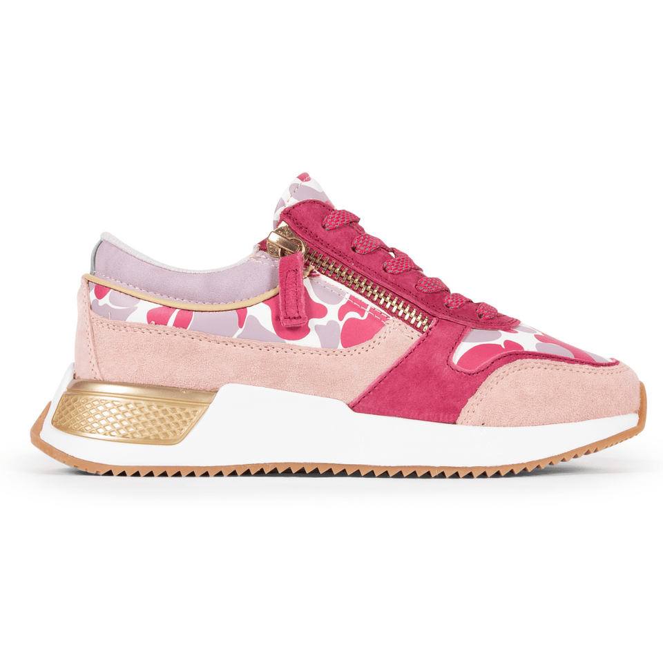 The pink Women's Rodeo 2.5 sneaker, reflective laces, a gold functional side zipper, lavender suede. Side view