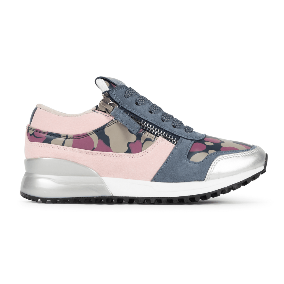 The Rodeo is a designer luxury purple suede, women's sneaker. This athleisure shoe features a custom sole, purple camo, and zippers on the side. Side view