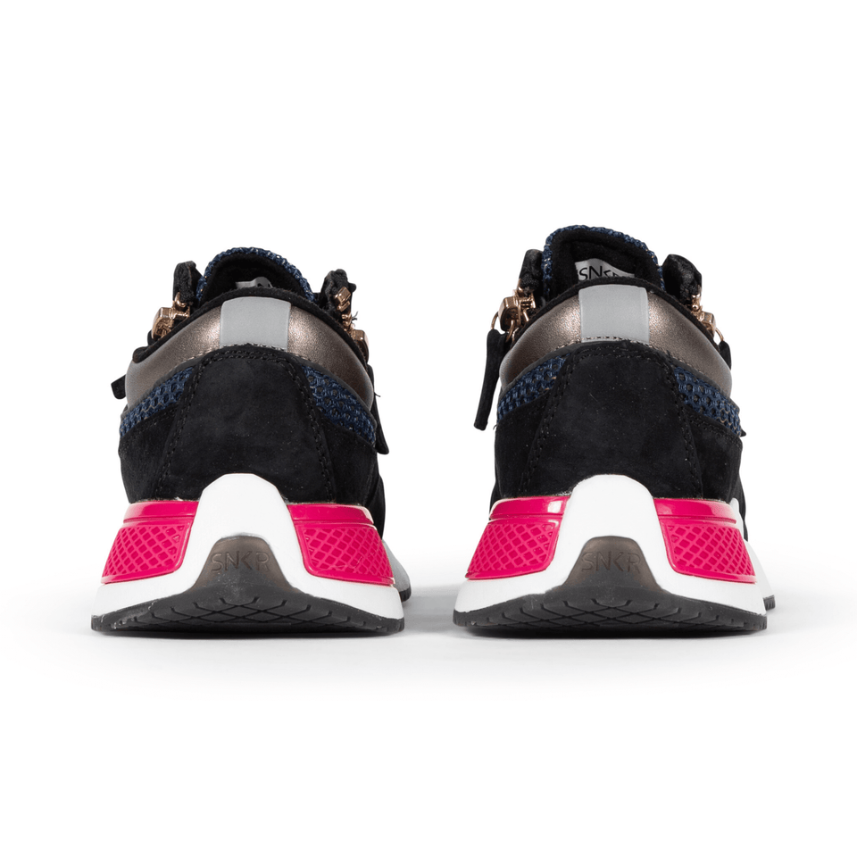 The Women's Rodeo 2.5 sneaker, metallic mesh upper, reflective laces, a functional side zipper, black suede. Back view
