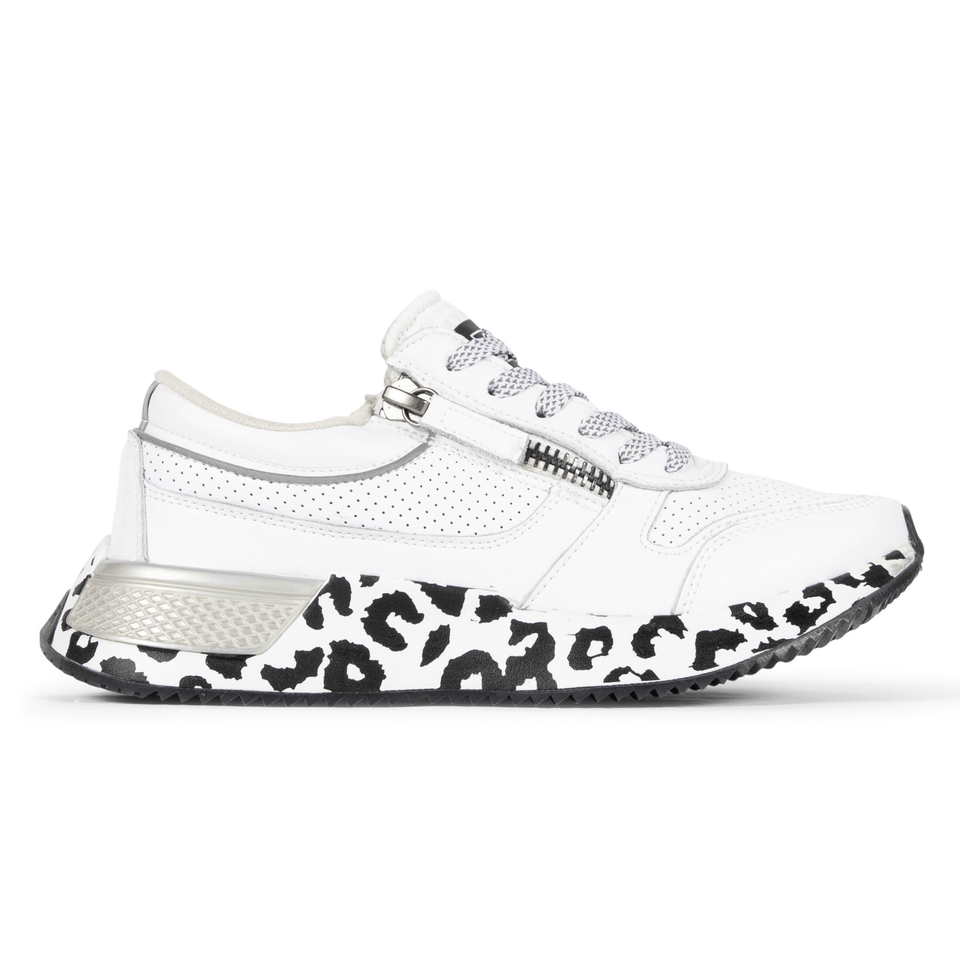 The white and silver Women's Rodeo 2.5 sneaker with animal print, reflective laces, a functional side zipper, perforated leather. Side view