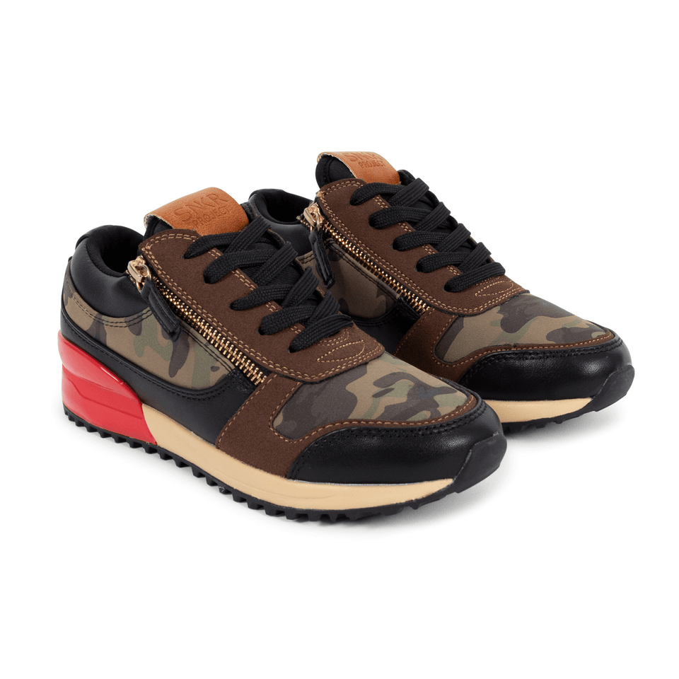 Brown camo and red rodeo boys sneaker for kids 13-5. With gold zippers. two shoes