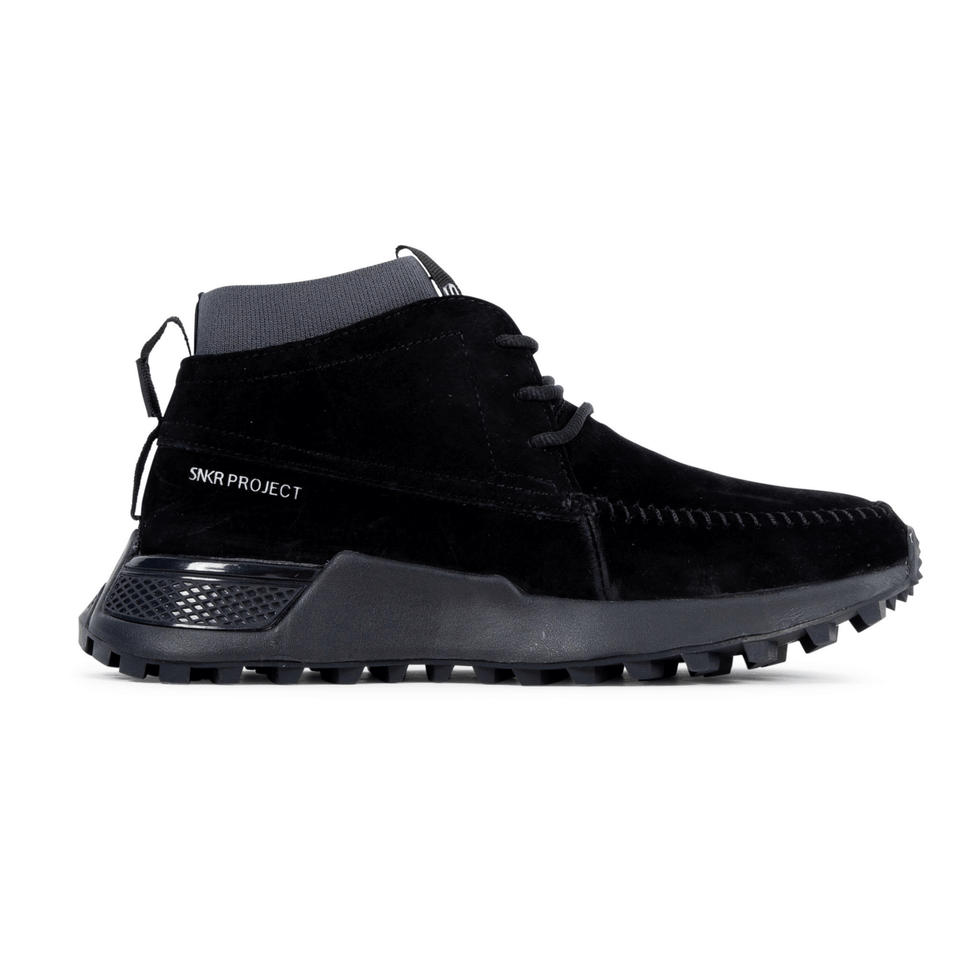The Suffolk men's luxury sneaker boot with black suede, grey sole and a sock-fit construction. Side View