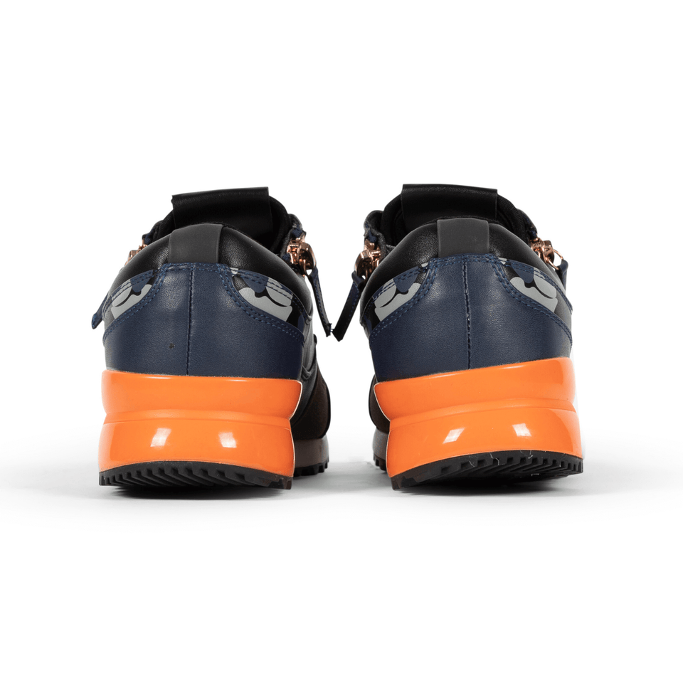 The Rodeo is a designer luxury mens sneaker. Navy Camo, orange, men's athleisure shoe with zips and suede. Back of shoes.