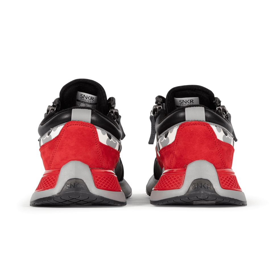 The men's Rodeo 2.5 sneaker, red, grey camo, reflective laces, a functional side zipper and suede. two shoe view
