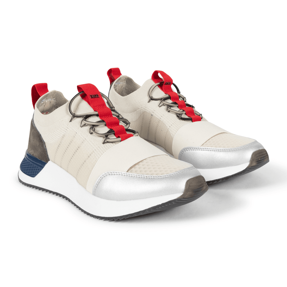 The Madison 2.0 men's luxury sneaker with cream mesh, tan suede and navy, silver and red accents. Sock fit. two shoes