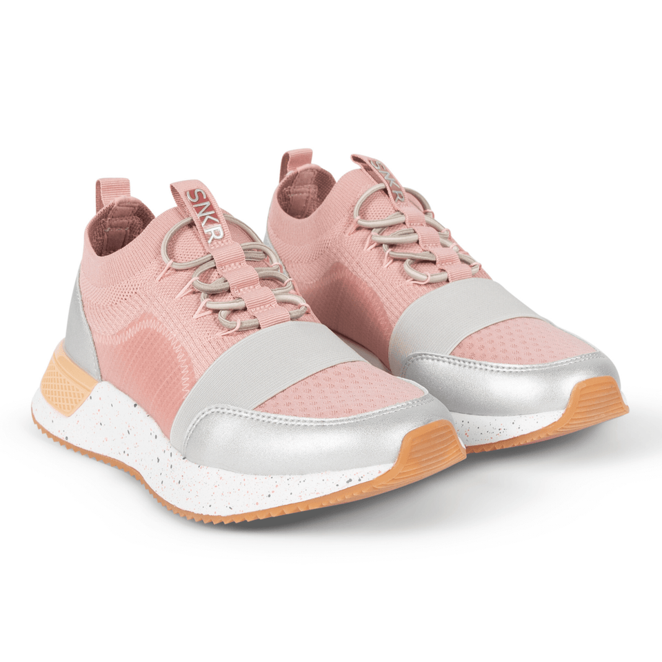 The Madison 2.0 women's luxury sneaker with pink mesh, tan and silver accents. Sock fit.  two shoes