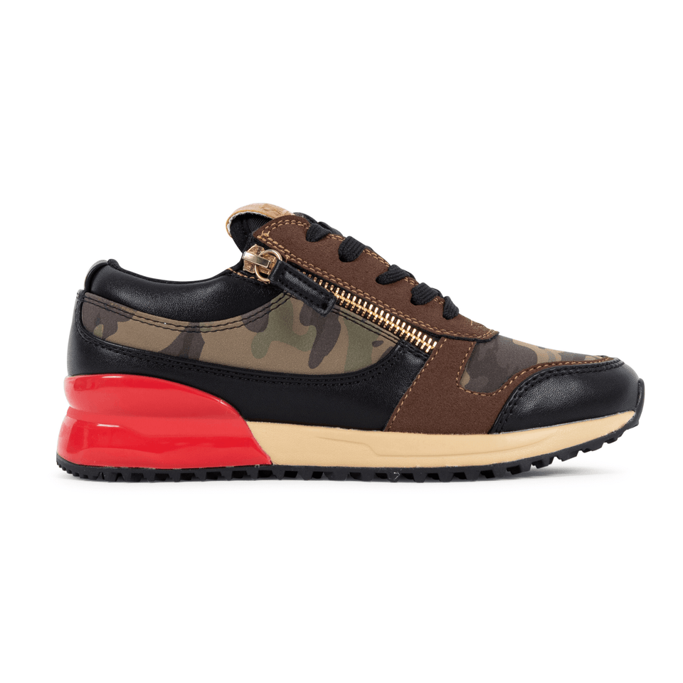 Brown camo and red rodeo boys sneaker for kids 13-5. With gold zippers. side view of shoe
