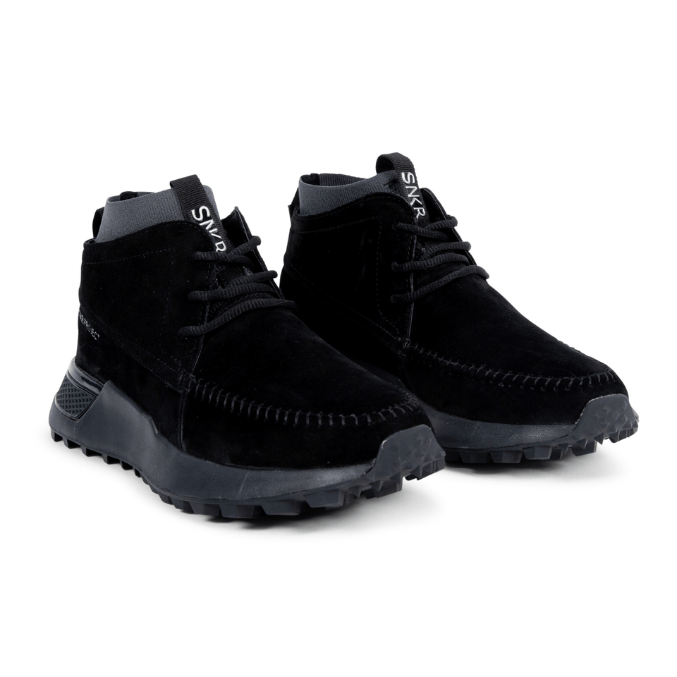 The Suffolk men's luxury sneaker boot with black suede, grey sole and a sock-fit construction. two shoes