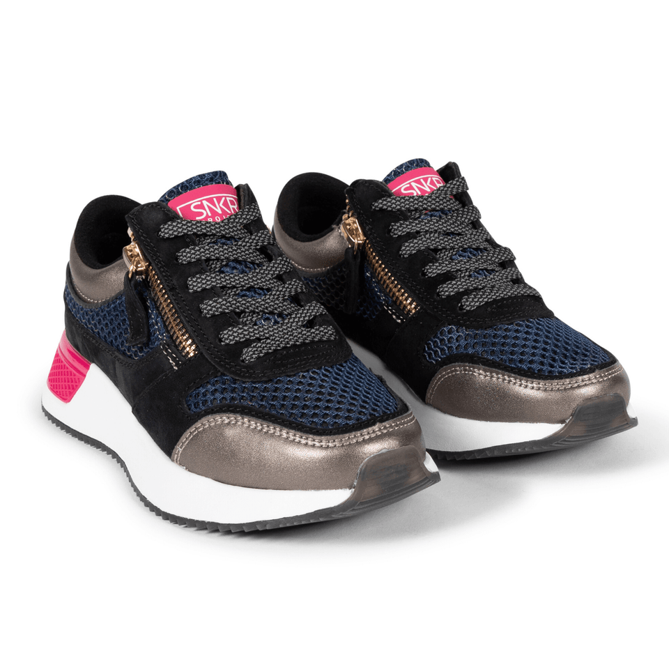 The Women's Rodeo 2.5 sneaker, metallic mesh upper, reflective laces, a functional side zipper, black suede. Two shoes