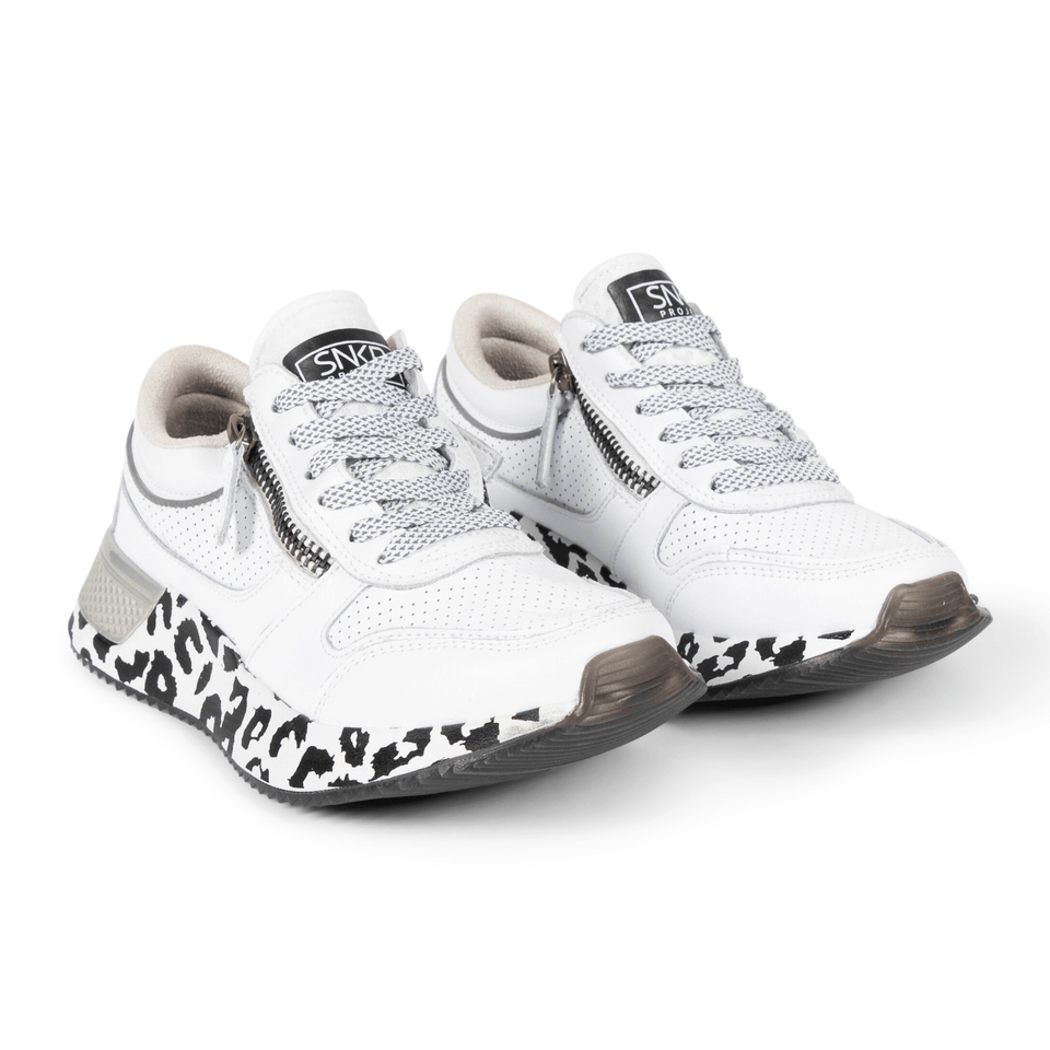 The white and silver Women's Rodeo 2.5 sneaker with animal print, reflective laces, a functional side zipper, perforated leather. two shoes