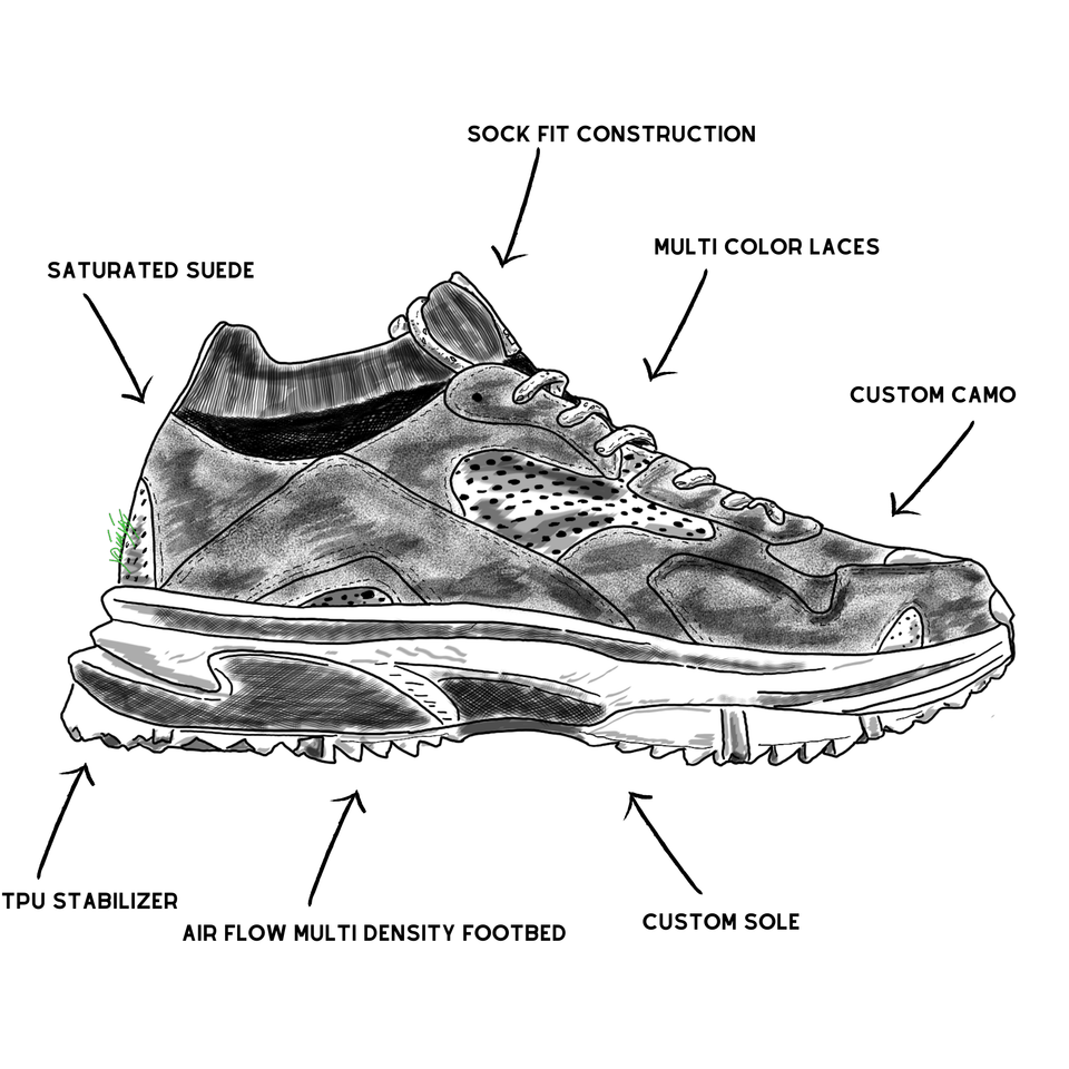 The Canal men's luxury sneaker with grey camo and black suede, red accents, a sock-fit, and custom trail sole. drawing of shoe