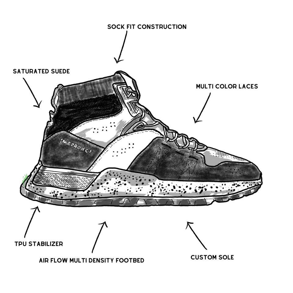 The Watts men's luxury sneaker with black leather and suede, a sock-fit, and white speckled custom trail sole. drawing of shoe