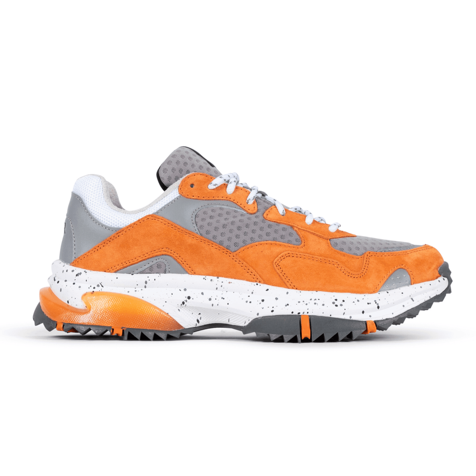 The Prospect Park men's luxury sneaker with grey, orange and white mesh and suede. Comfortable speckled trail sole. Side View
