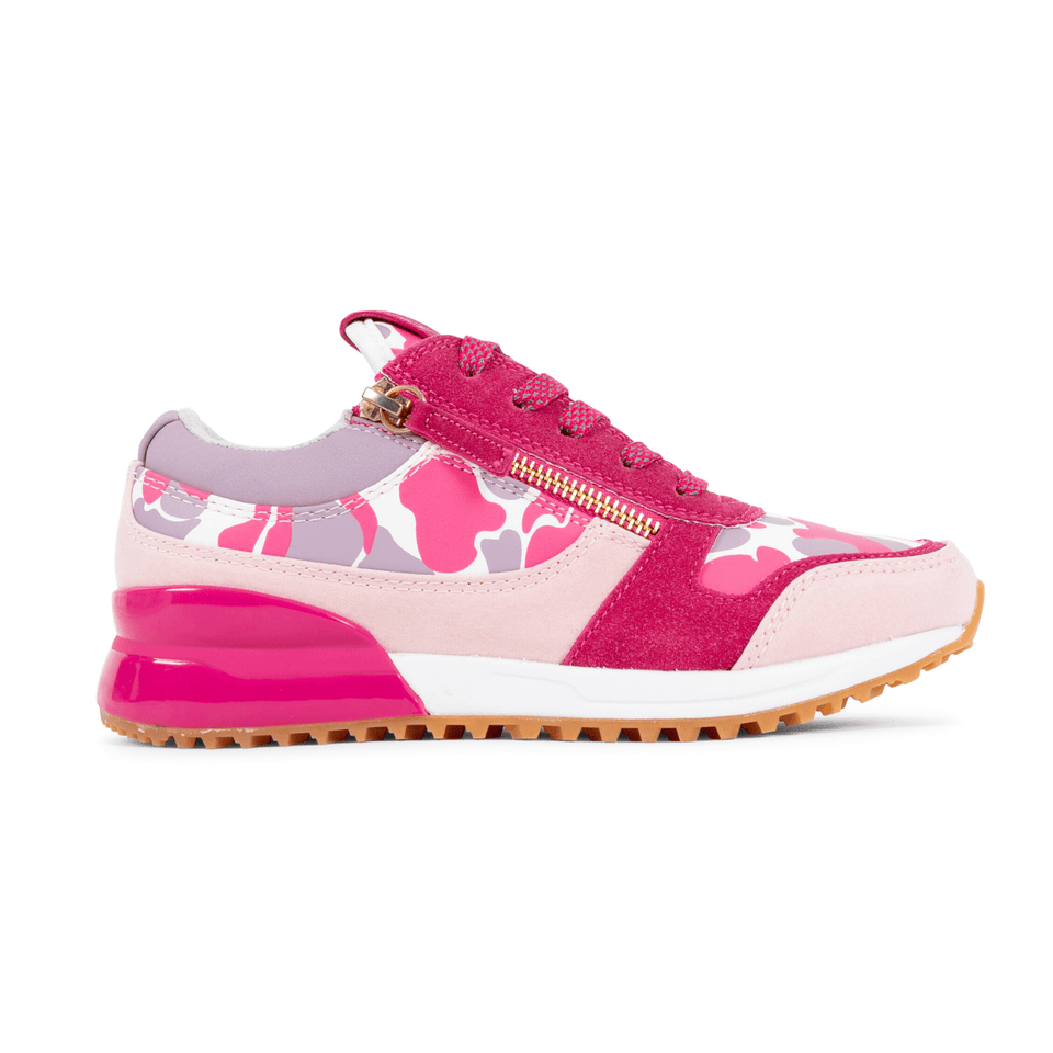Pink  and lavender camo rodeo girls sneaker for kids 13-5. With gold zippers. side view of shoe