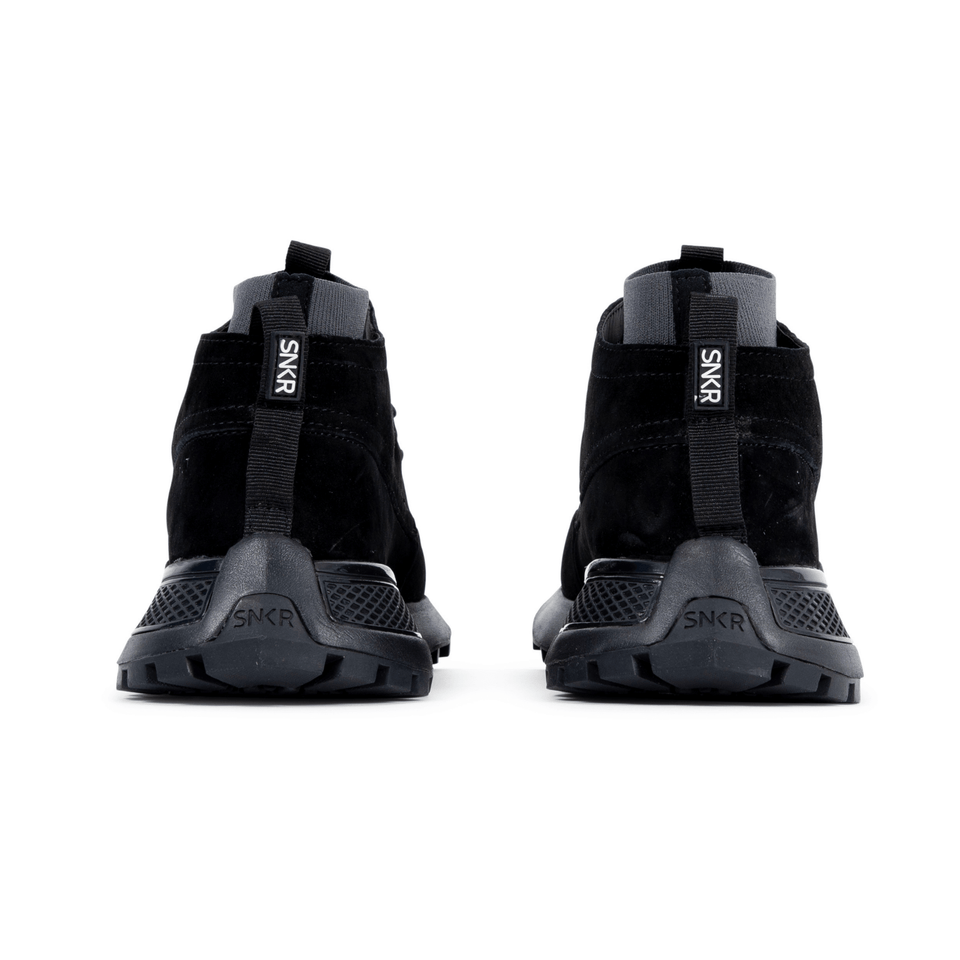 The Suffolk men's luxury sneaker boot with black suede, grey sole and a sock-fit construction. back of shoes