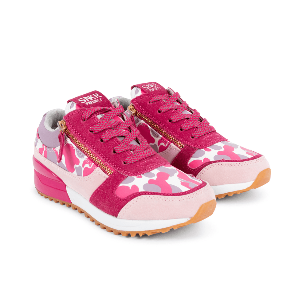 Pink  and lavender camo rodeo girls sneaker for kids 13-5. With gold zippers. two shoes