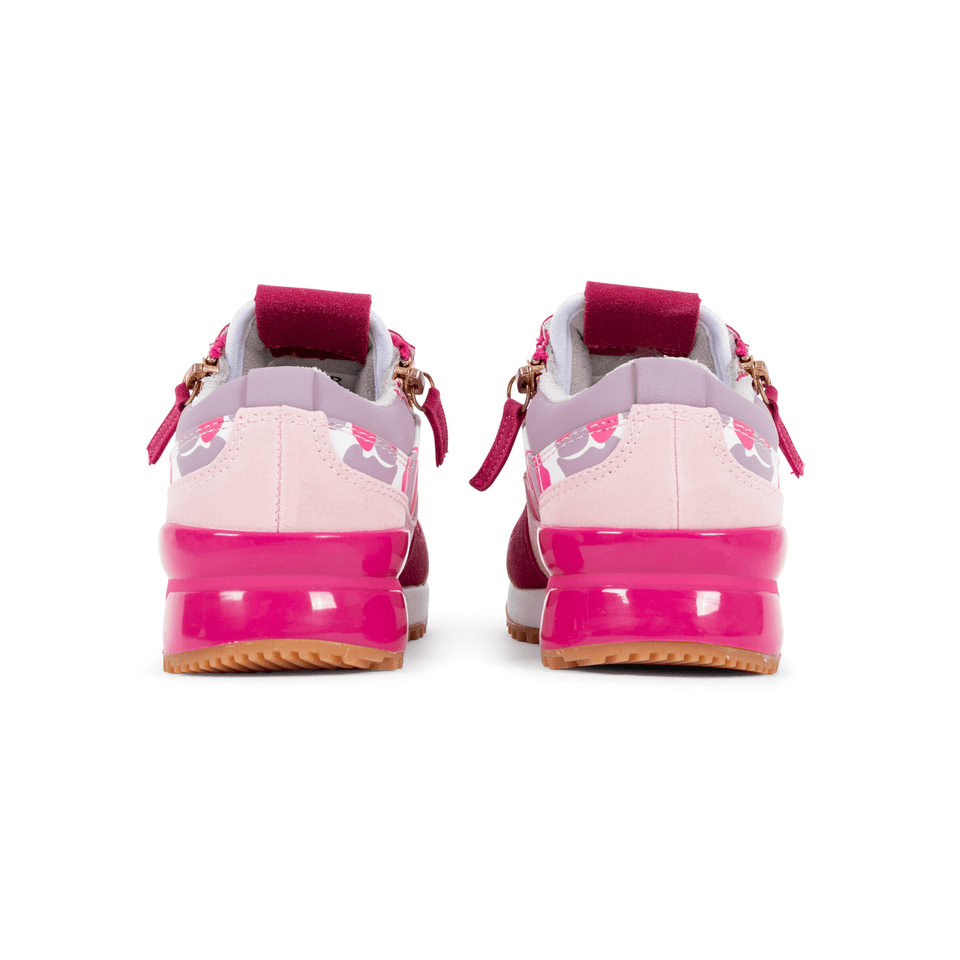 Pink  and lavender camo rodeo girls sneaker for kids 13-5. With gold zippers. back of shoe