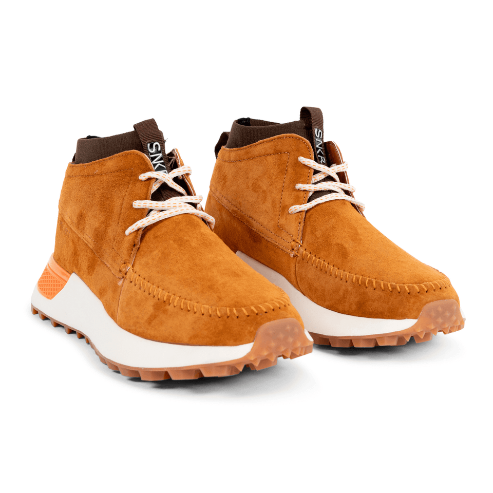 The Suffolk men's luxury sneaker boot with tan suede, white and gum sole and a brown sock-fit construction. two shoes