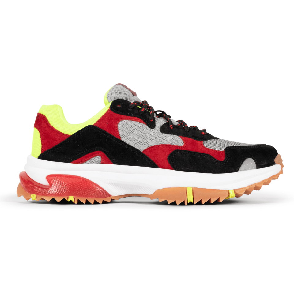 The Prospect Park men's luxury sneaker with grey, red, black and yellow mesh and suede. Comfortable gum trail sole. Side View