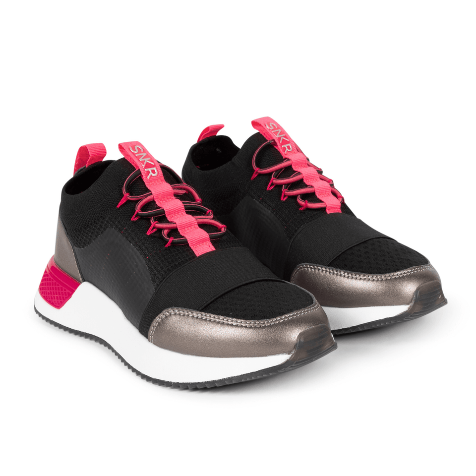 The Madison 2.0 women's luxury sneaker with black mesh, pink and silver accents. Sock fit.  two shoes