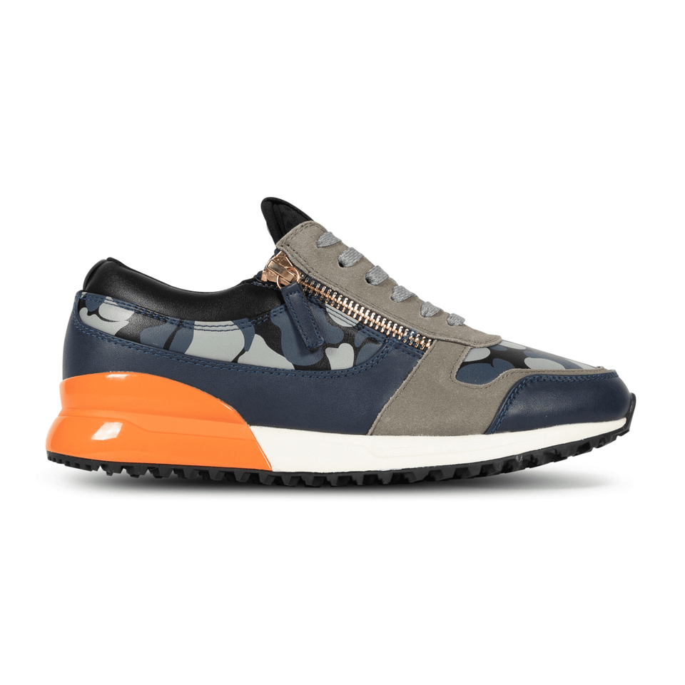 The Rodeo is a designer luxury mens sneaker. Navy Camo, orange, men's athleisure shoe with zips and suede. Side image.