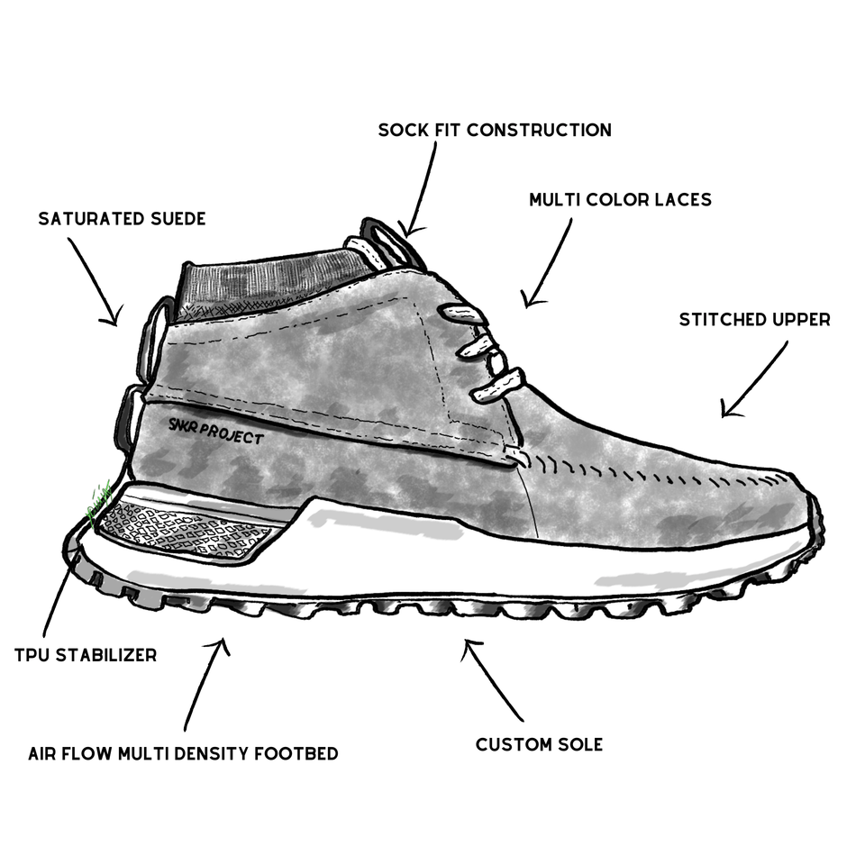 The Suffolk men's luxury sneaker boot with tan suede, white and gum sole and a brown sock-fit construction. drawing of shoe