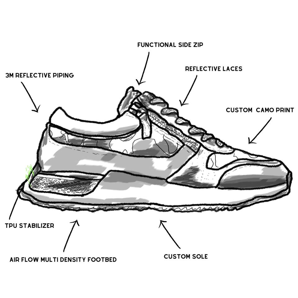 The men's Rodeo 2.5 sneaker, red, grey camo, reflective laces, a functional side zipper and suede. drawing of shoe