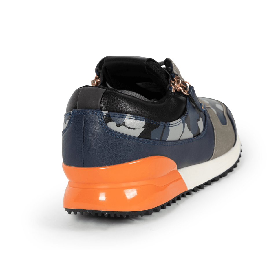 The Rodeo is a designer luxury mens sneaker. Navy Camo, orange, men's athleisure shoe with zips and suede. Back and side.