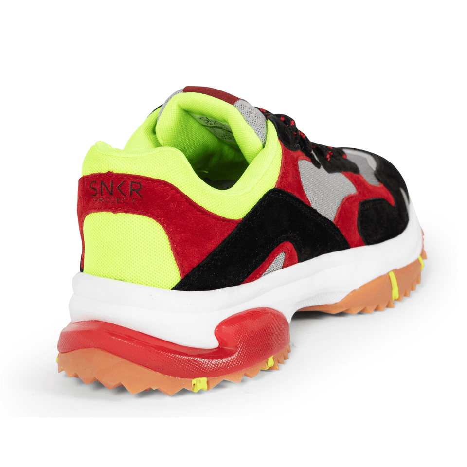 The Prospect Park men's luxury sneaker with grey, red, black and yellow mesh and suede. Comfortable gum trail sole. back and side of shoe