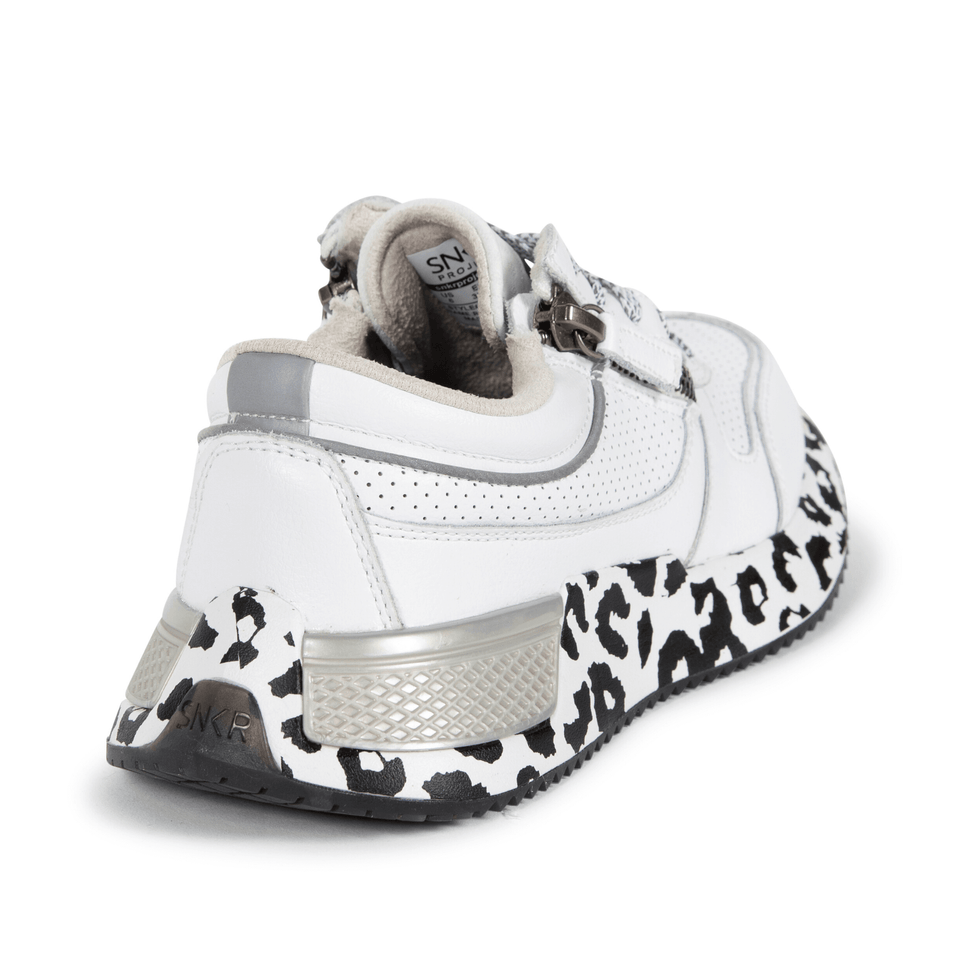 The white and silver Women's Rodeo 2.5 sneaker with animal print, reflective laces, a functional side zipper, perforated leather. Side and back of shoe