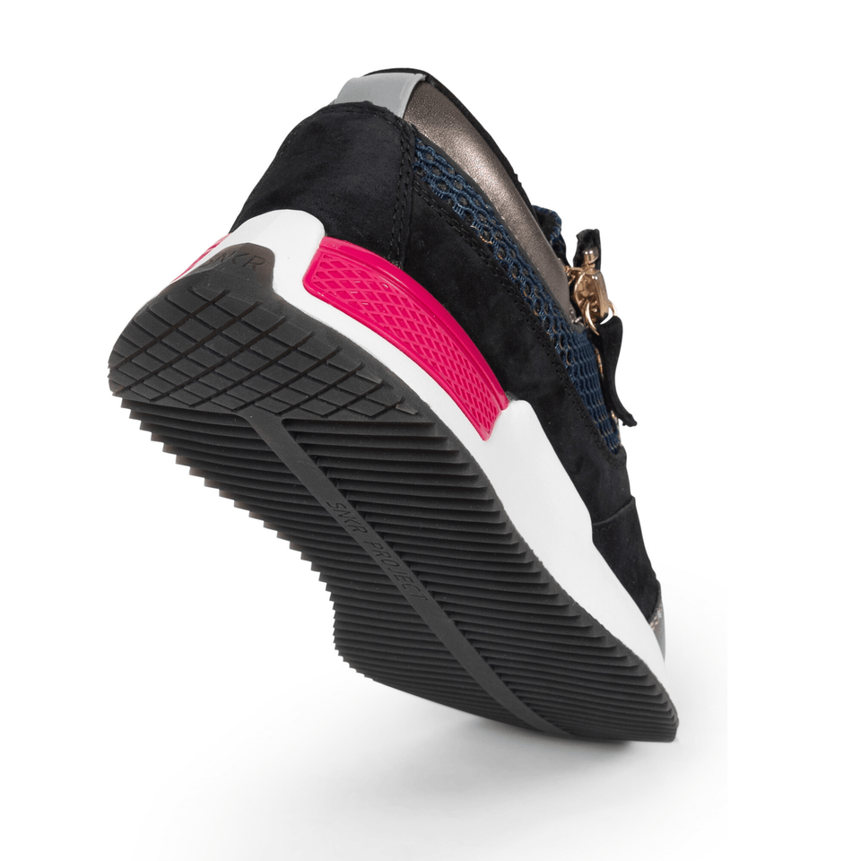 The Women's Rodeo 2.5 sneaker, metallic mesh upper, reflective laces, a functional side zipper, black suede. sole view