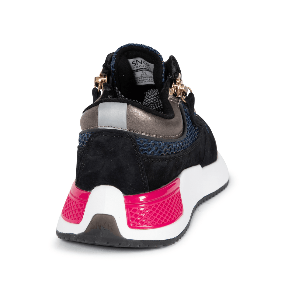 The Women's Rodeo 2.5 sneaker, metallic mesh upper, reflective laces, a functional side zipper, black suede. back and side view