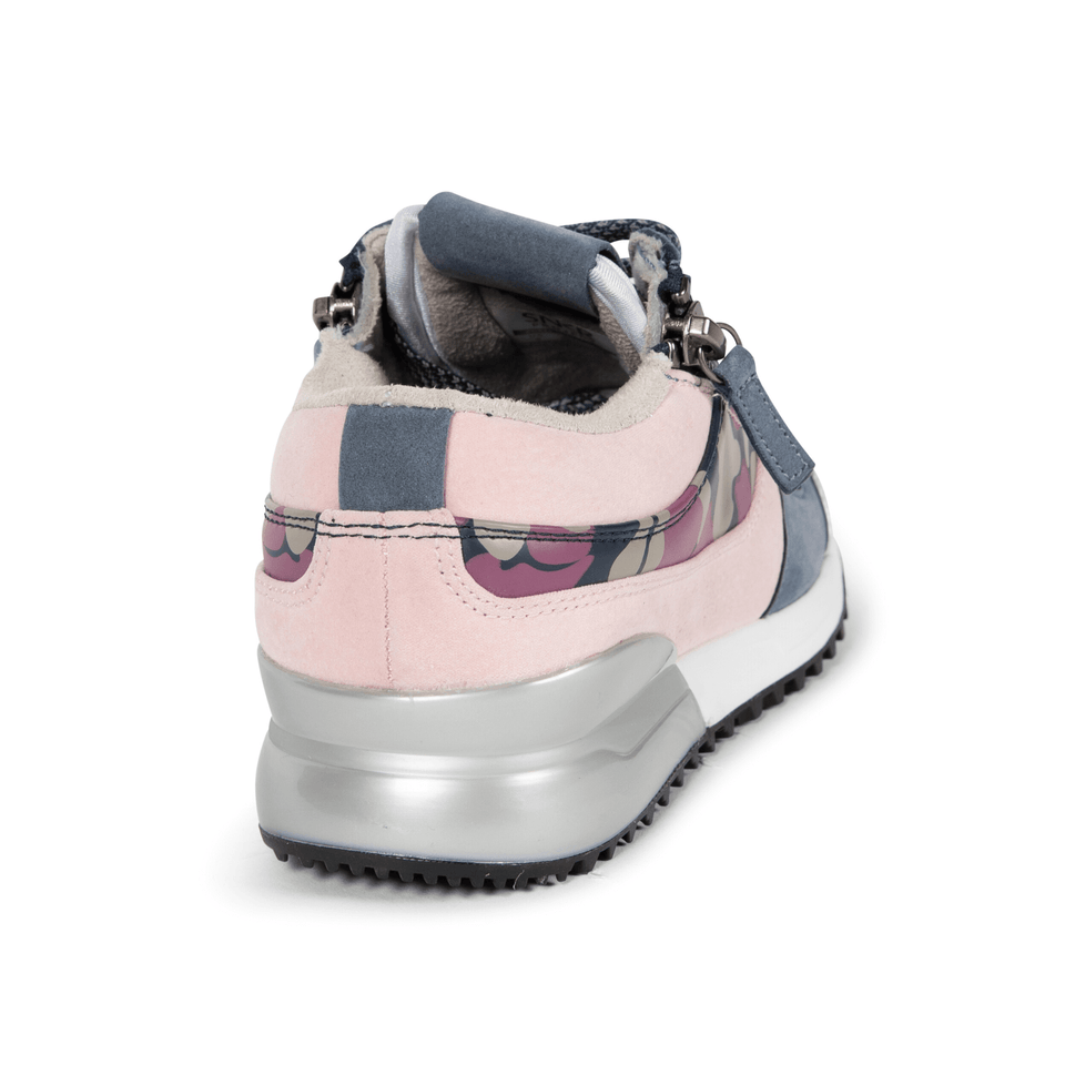The Rodeo is a designer luxury purple suede, women's sneaker. This athleisure shoe features a custom sole, purple camo, and zippers. Back view.