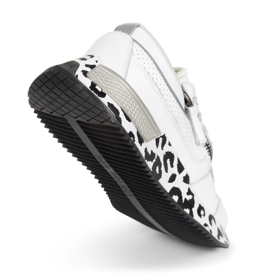 The white and silver Women's Rodeo 2.5 sneaker with animal print, reflective laces, a functional side zipper, perforated leather. Sole of shoe