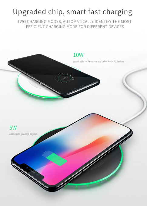 Mcdodo Premium LED Wireless Charger Pad for iPhone X, iPhone XS, iPhone XR, iPhone 8/8 Plus, Samsung Galaxy, Samsung Note, Google Pixel