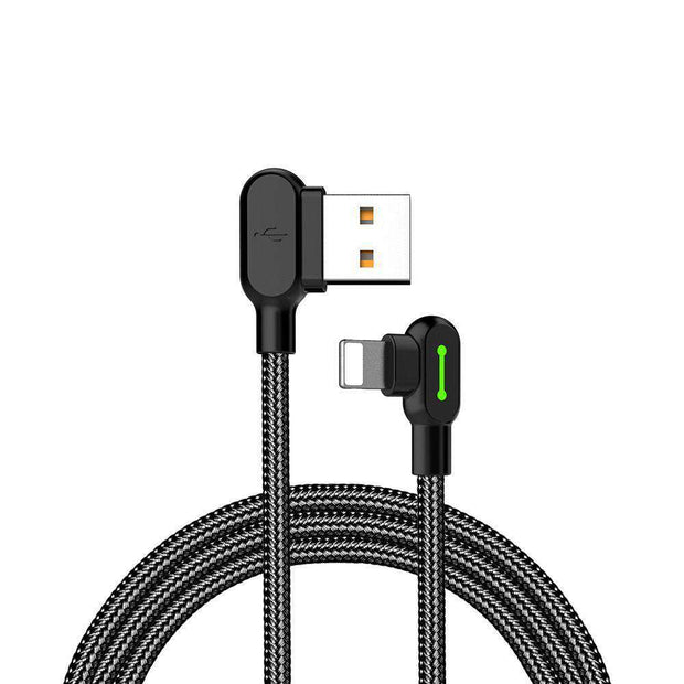 Mcdodo 90° Lightning Cable for iPhone X, iPhone XS, iPhone XR, iPhone 8/8Plus, iPhone 7/7 Plus, iPhone 6/6S, iPhone 5 SE