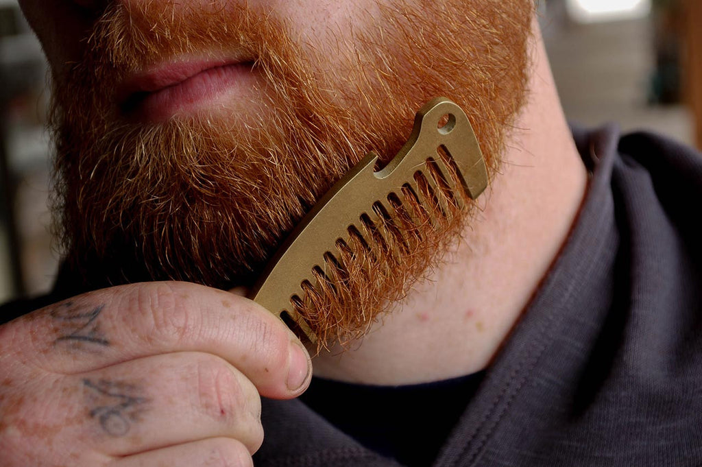 Solid Brass Beard Comb and Bottle Opener from Folkland