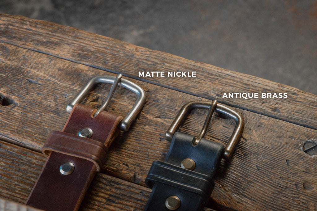 Thick Leather Belt Brass Nickle Hardware Options Folkland PNW