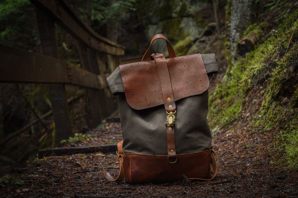 Canvas Leather Rolltop Backpack Pacific Northwest Adventure Durable Pack