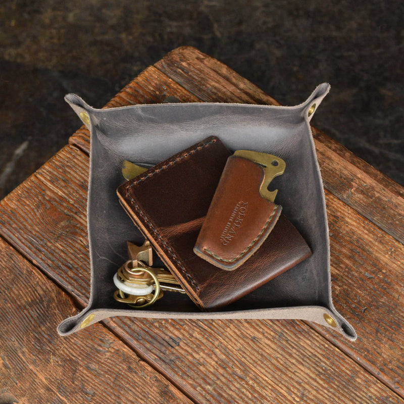 Leather Valet Tray Catchall Folkland Handmade Quality Organizer