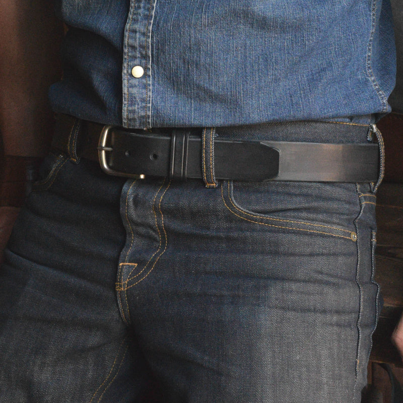 Latigo Black Leather Belt