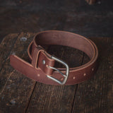 Thick Brown Sturdy Leather Belt USA made by Folkland