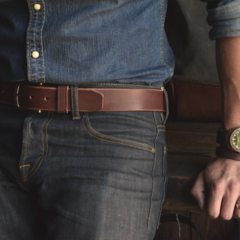 Thick Brown Sturdy Leather Belt USA made by Folkland Denim Lifestyle Selvedge Heritage