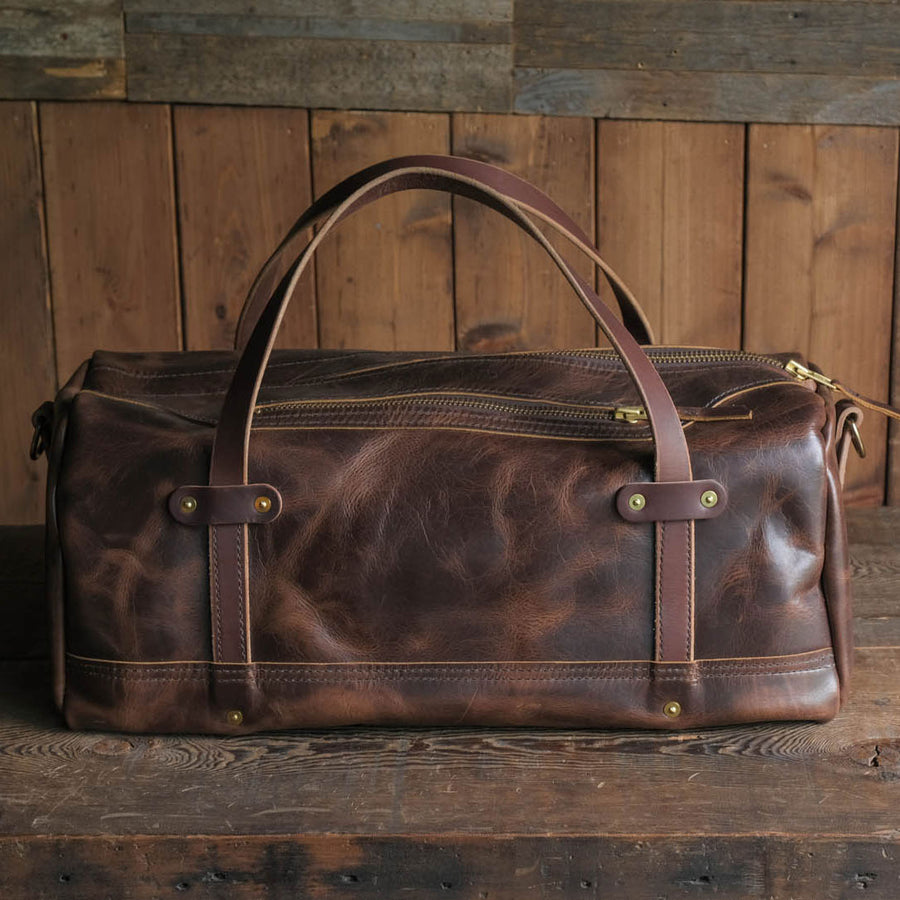 Leather Folkland Weekender Duffel Bag Quality USA made durable rugged and tough