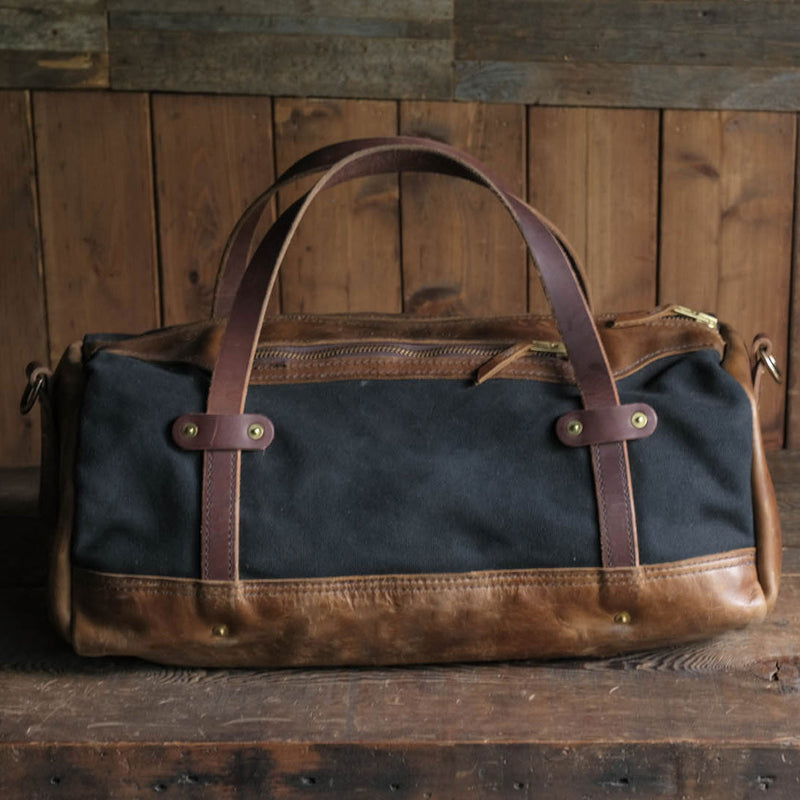 Canvas Leather Folkland Weekender Duffel Bag Quality USA made durable rugged and tough