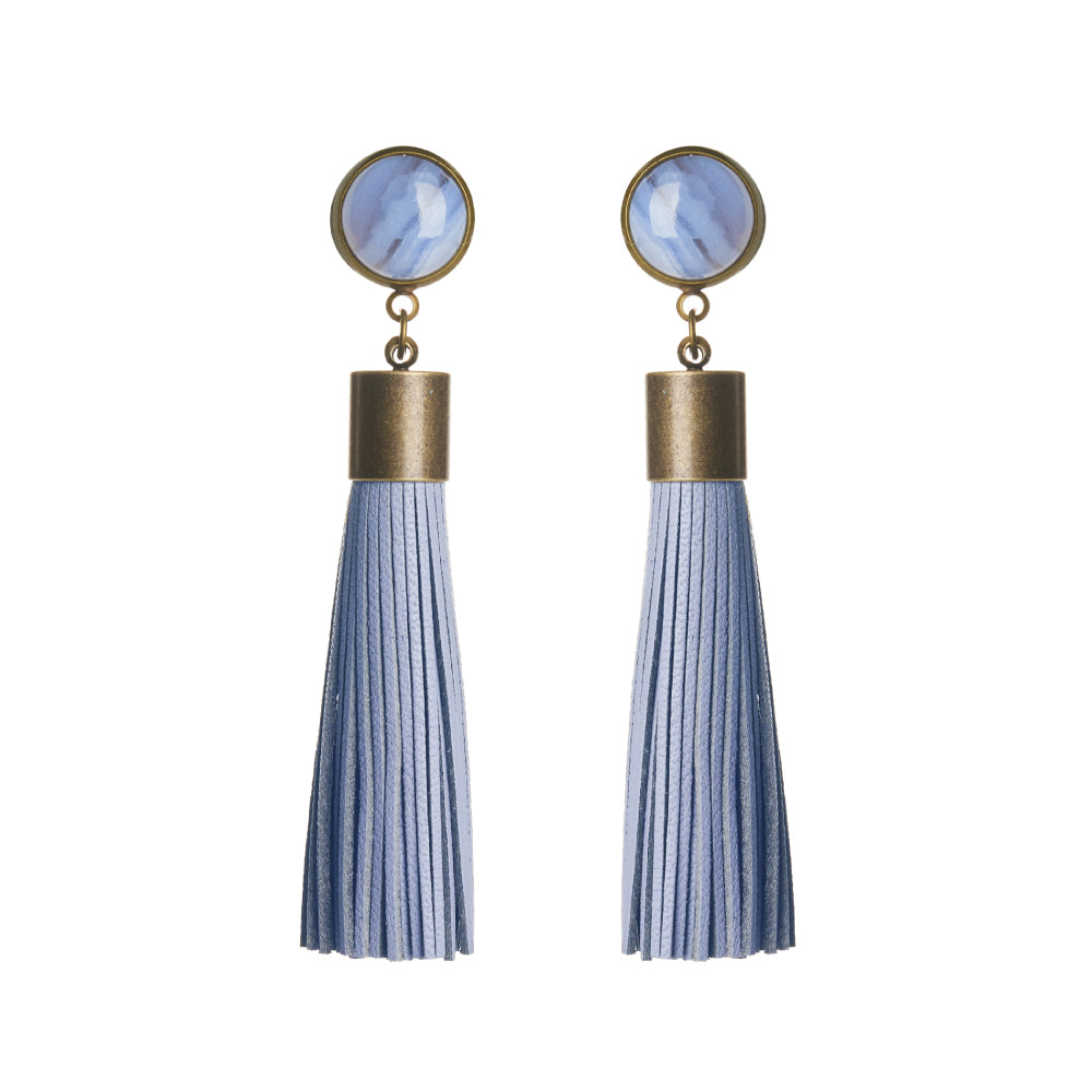Blue Lace Agate Tassel Earrings