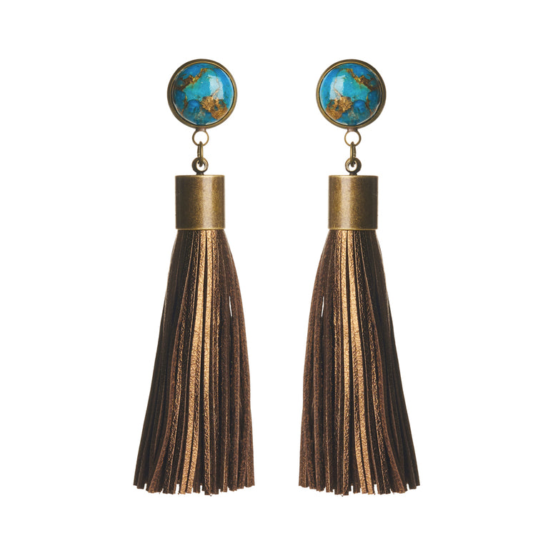 Copper Turquoise (Blue) Tassel Earrings