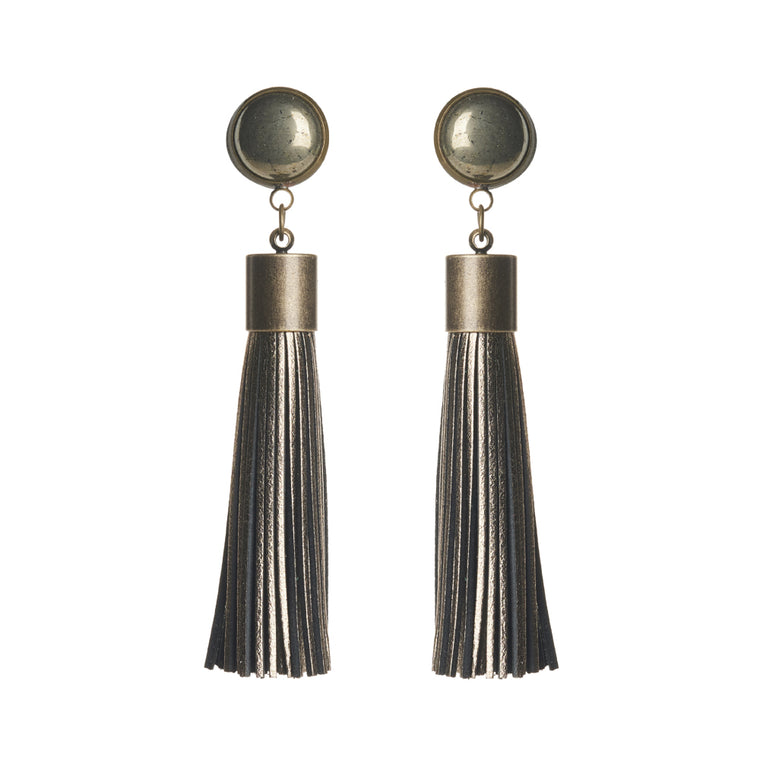 Pyrite (Metallic Bronze) Tassel Earrings