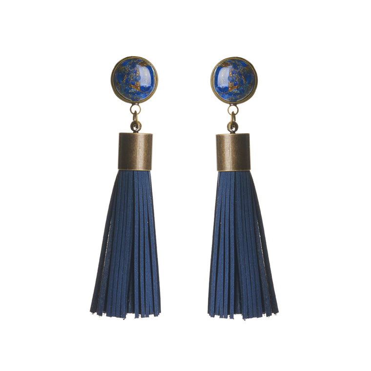 Copper Lapis Tassel Earrings